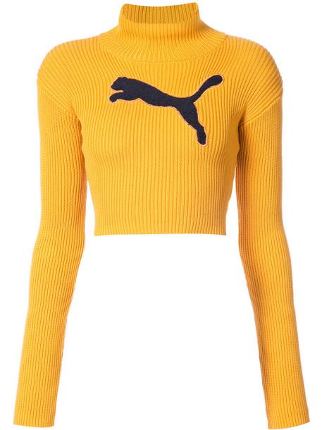Fenty x Puma jumper turtleneck cropped women cotton yellow orange sweater