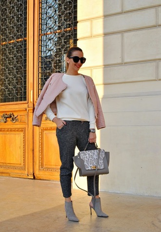 let's talk about fashion ! blogger grey sweatpants pink jacket handbag pointed toe jacket blouse shoes pants bag jewels