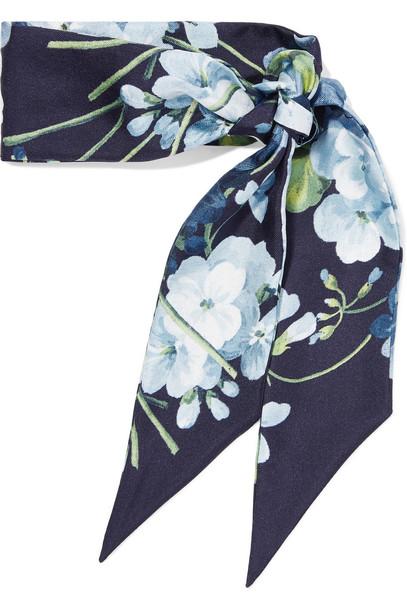 gucci scarf floral print silk blue