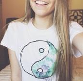 shirt,watercolor,yin yang,aqua,yinyang,pinterest,tumblr,cute
