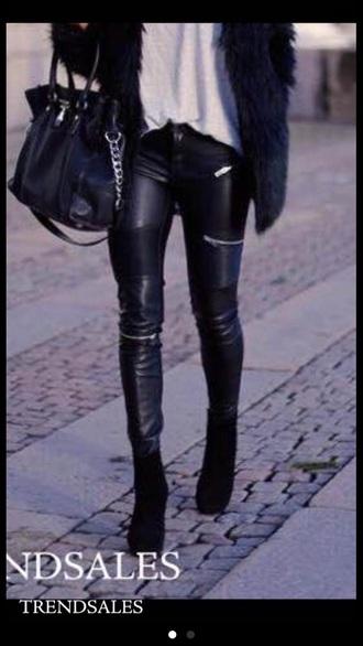 jeans black biker jeans zara www.zara.com zip zipped jeans leather jeans pants leather pants leggings