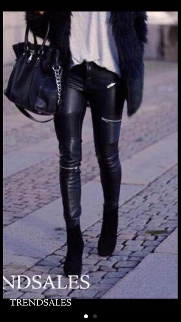 Faux leather biker trousers with zips zara