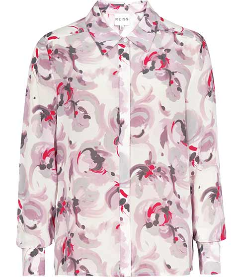 Tulip Rose Printed Silk Shirt - REISS