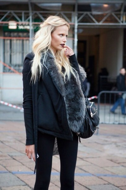 jacket fur grey and black black grey prefect winter outfits statement fashion statement