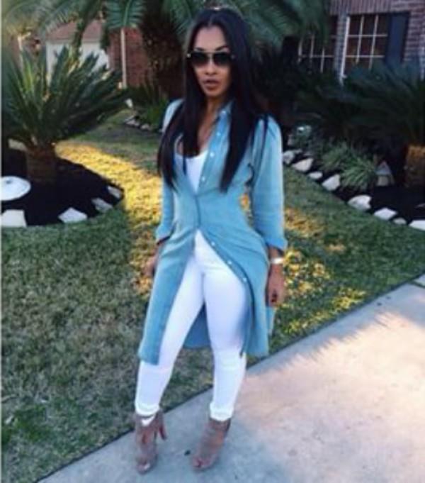 cardigan blouse dress jacket long button down shirt shoes long denim jacket white pants sunglasses jeans shirt heels hair white denim high heels pants