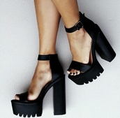 cleated sole platforms,shoes,chunky,black,heels,high heel,black heels,chunky sole,high heel sandals,sandals,black and white