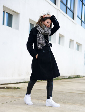 lovely pepa blogger scarf black coat white sneakers
