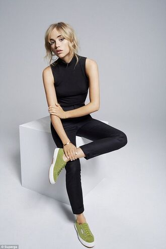 shoes superga sneakers green sneakers pants black pants top black top suki waterhouse celebrity model