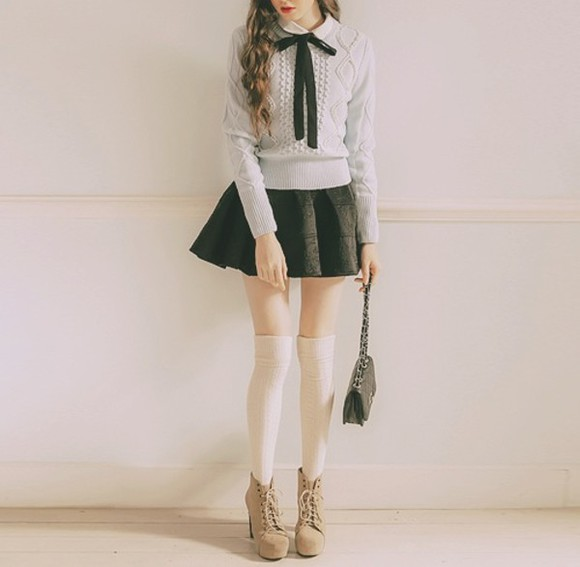 blouse skirt blue blouse cute blouse blouse with bow black bow knee high socks white socks blouse with black bow long sleeves long sleeve blouse short skirt black skirt cute skirt cute skirt and blouse asian all cute outfits bows sweater preppy