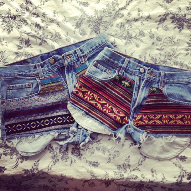 shorts jeans denim ethno ethnic aztec bohemian tribal pattern embroidered hot pants pattern indian african american southern denim shorts high waisted