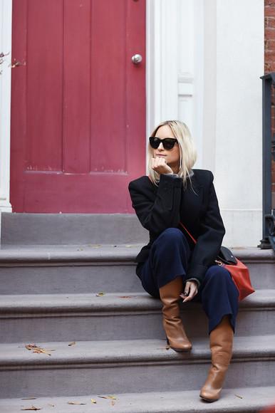 the fashion guitar blogger bag Belt sunglasses grey sweater coat