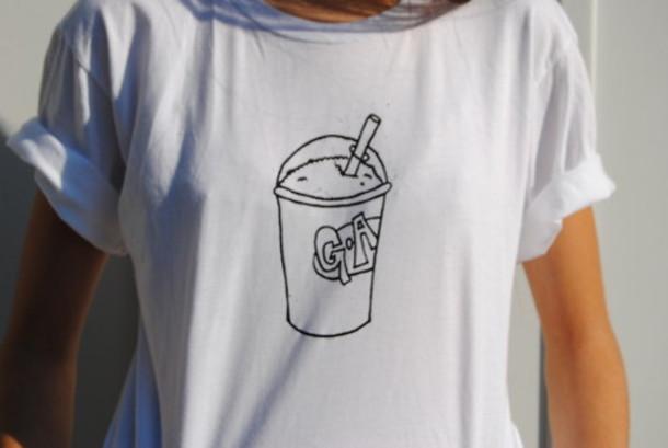 shirt clothes slushie black and white tumblr cute t-shirt top drink t-shirt blouse shirt celebrity iphone girl menswear women casual t-shirt casual t-shirts