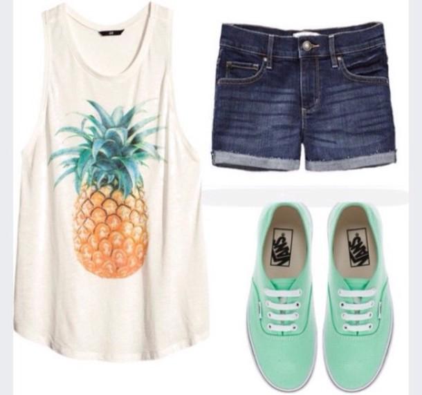 shirt top summer top t-shirt pineapple print pineapple shir mint shoes denim shorts
