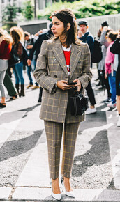 pants,tumblr,printed pants,tartan,plaid,blazer,two piece pantsuits,power suit,streetstyle,bag,black bag,pumps,pointed toe pumps,high heel pumps,pointed toe