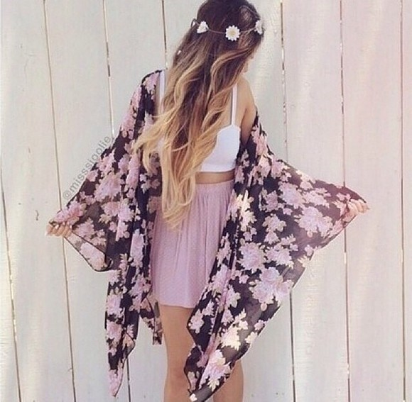 crop tops cute cardigan kimono kimono floral sheer boho fashion loose fit long flower crown high waisted skirt skirt circle skirt