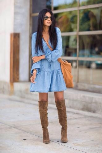 dress blue denim flowy