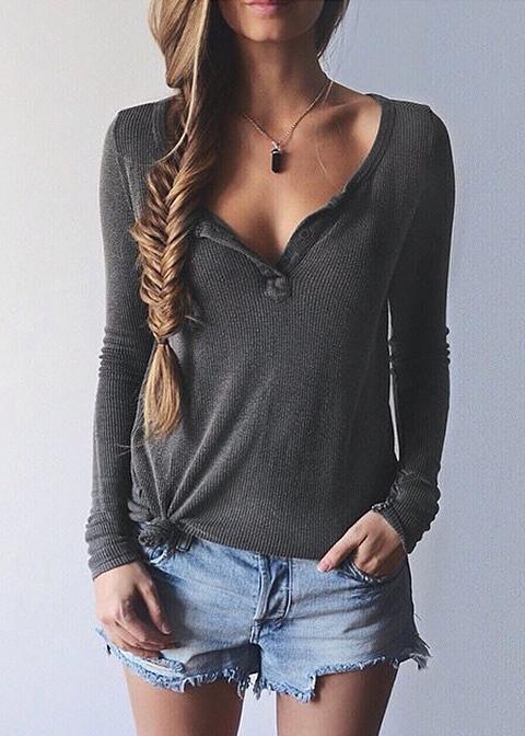 V-Neck Thin Sweater Disheefashion