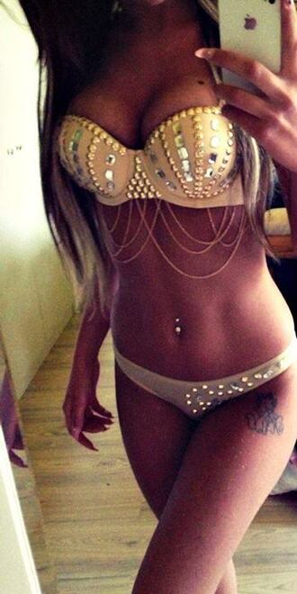 swimwear sexy bikini studs jewels underwear studded studded bra beige swimwear tan bling top bottom dangle pretty hot two-piece where can i buy this it's amazing shirt fancy wow amazing bikini top sparkle gold jeweled white chain swarovski