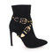 Luxury fashion - black suede high heeled boot pumps