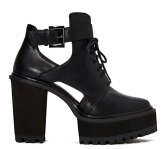 shoecult nastygal black boots platform shoes cut out ankle boots