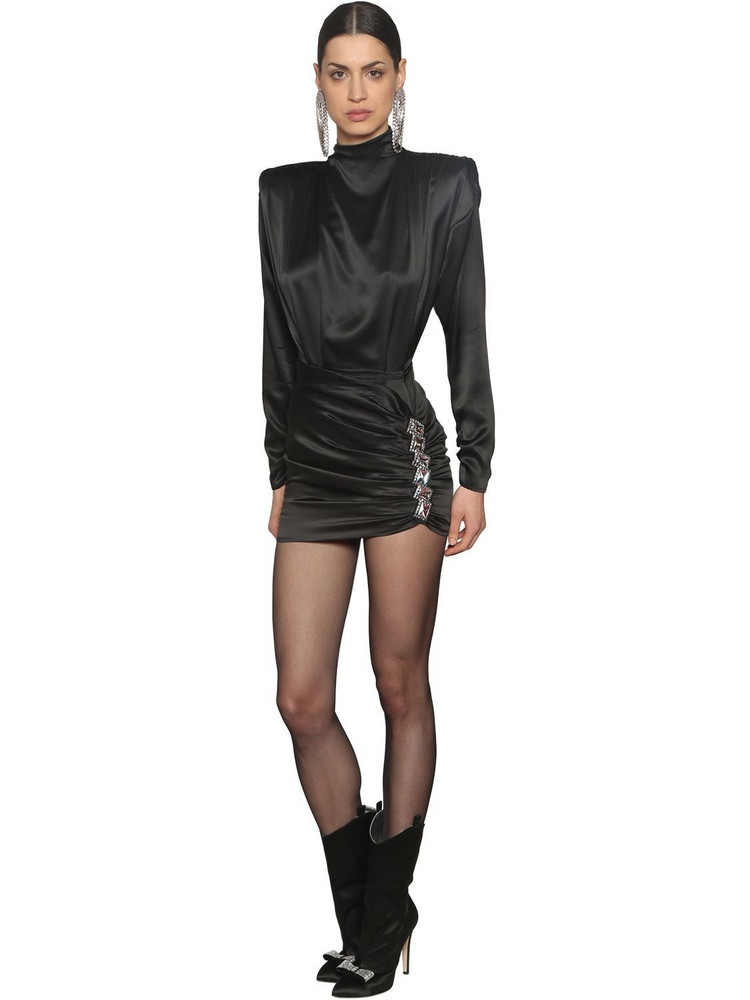 ALESSANDRA RICH Silk Satin Dress With Crystals in black