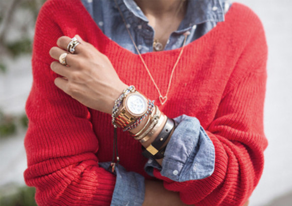 stacked jewelry sweater jewels knit sweater shirt gold watch red layers polka dots jean shirt heart