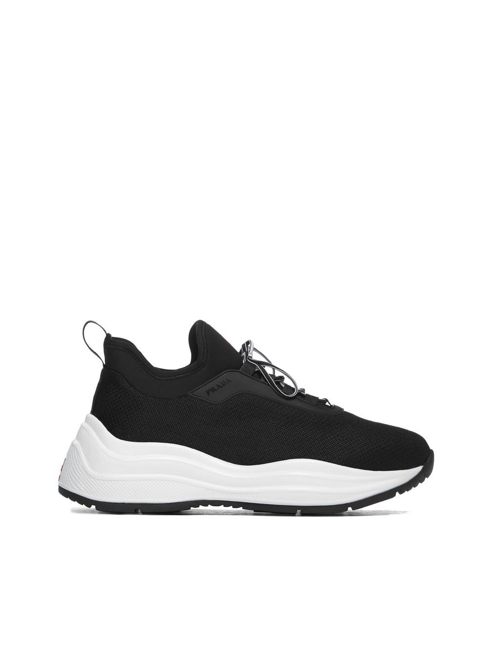 Prada Linea Rossa Lace-up Sneakers in nero