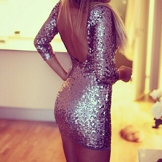 dress beautiful sequin dress silver sequin dress tumblr glitter dress backless dress bodycon dress sparkly glitters glamour silver glitter dress