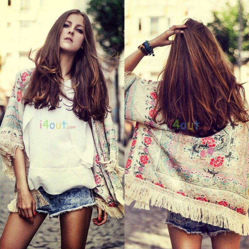 WOMEN FLORAL FRINGE SCARF SHORT SLEEVES CARDIGAN TOPS JACKET