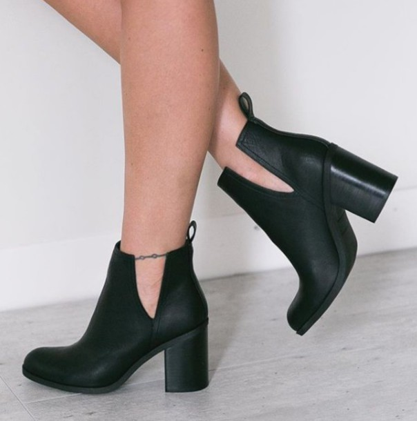 shoes girl girly girly wishlist boots booties black booties chunky sole  chunky heels chunky boots black 67356adb9cf1
