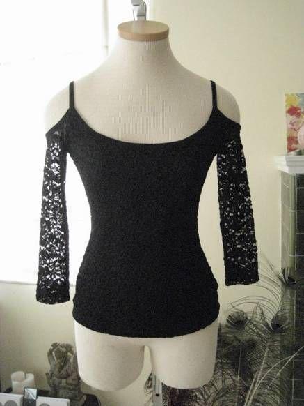 f2f94104f9045 BEBE Cold Shoulder Sleeve Top ASO Katherine Pierce in Black Lace ...