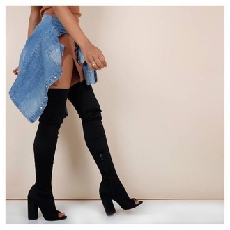 shoes black boots thigh high boots peep toe heels heels