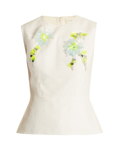 DELPOZO top jacquard embellished floral cotton cream