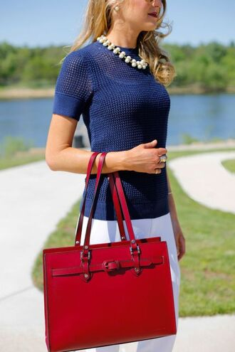 bag red bag top blue top mesh top pants white pants spring outfits necklace classy preppy tote bag