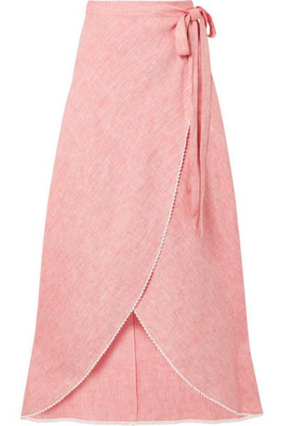Miguelina - Ballerina Crochet-trimmed Linen Wrap Maxi Skirt - Pink
