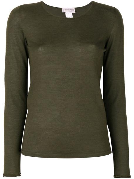 Le Tricot Perugia - crew neck sweater - women - Silk/Cashmere - XXL, Green, Silk/Cashmere
