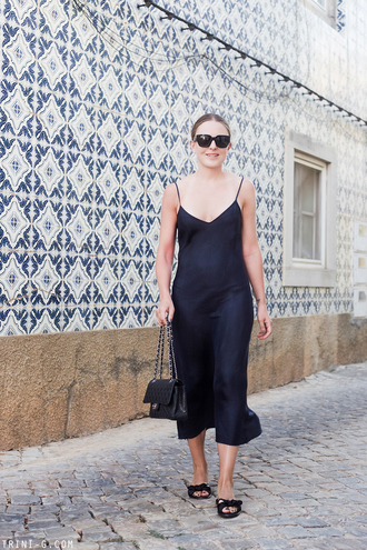 trini blogger sunglasses dress shoes bag chanel bag slip dress midi dress