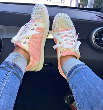 shoes pink silver spikes sneakers