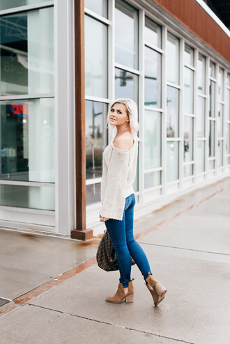 wild one forever - fashion & style by kristin blogger sweater jeans shoes bag underwear louis vuitton bag ankle boots skinny jeans
