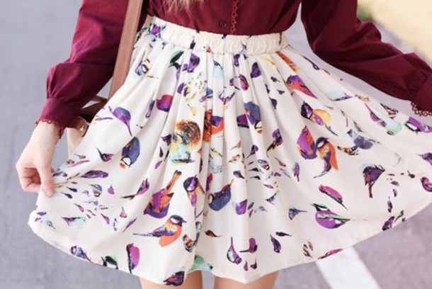 skirt nature print birds
