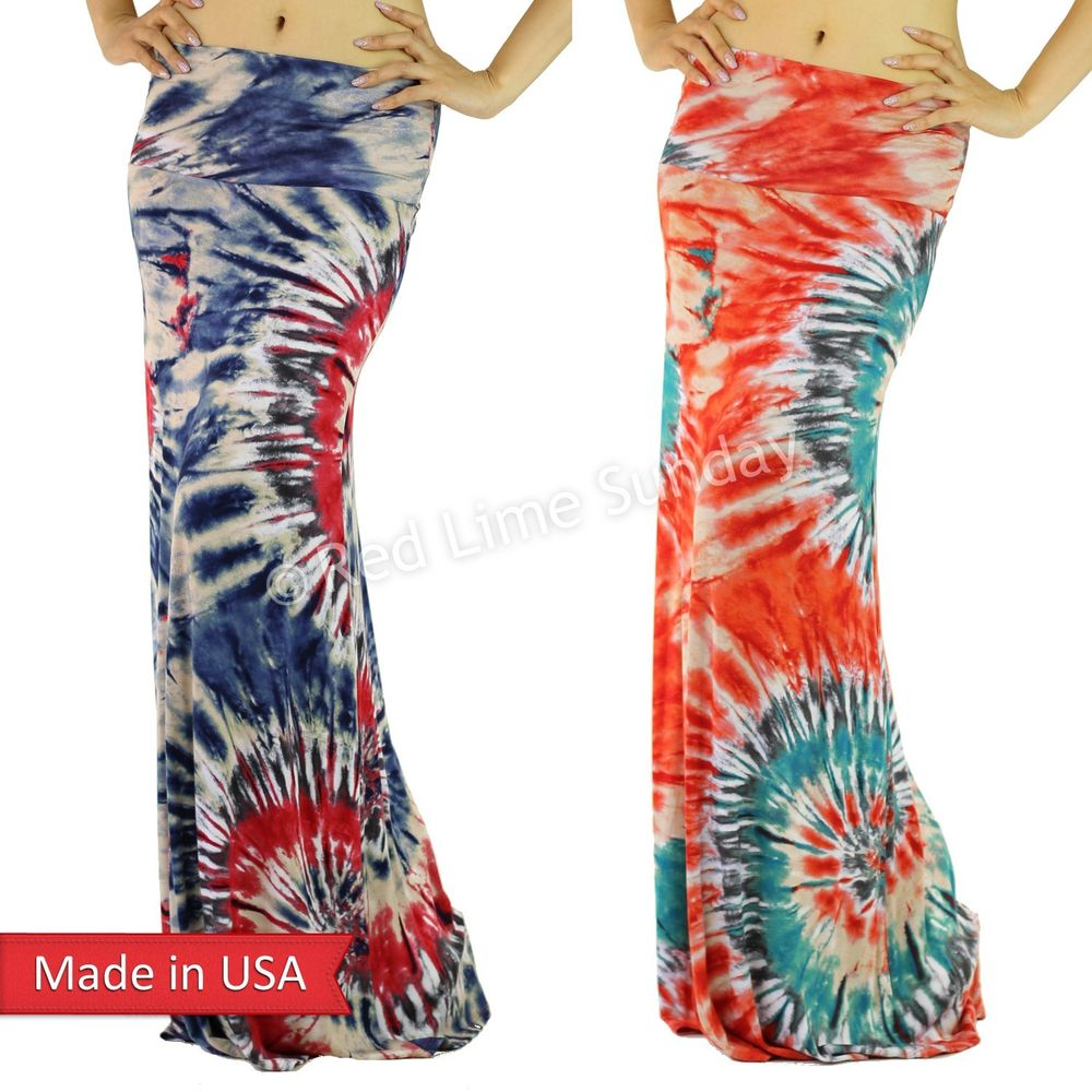 Boho Hippie Navy Coral Tie Dye Rayon Fold Over Multi Color Long Maxi Skirt USA