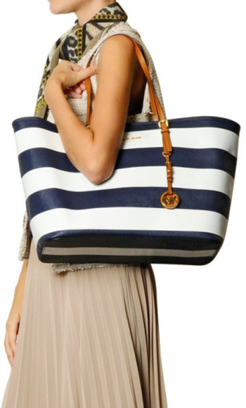 bag tote bag handbag purse michael kors mk bag mk handbag mk purse mk tote totes striped tote stripe tote michael kors tote michael kors striped tote