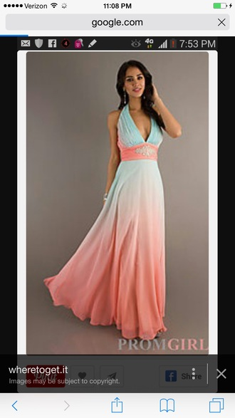 dress coral blue ombré long evening dress