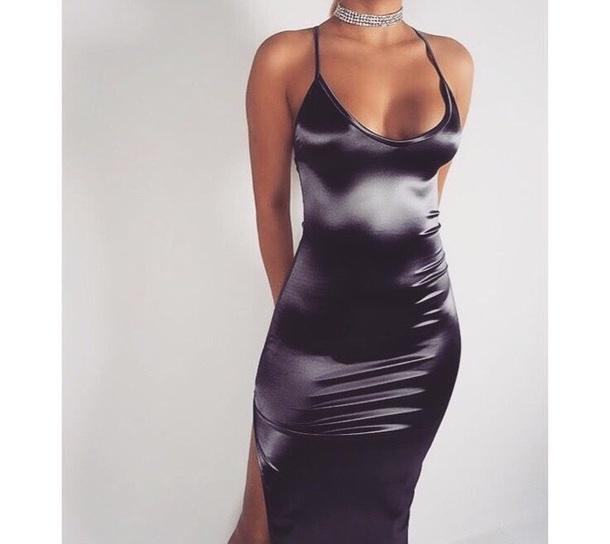 dress maxi dress prom dress silk black dress