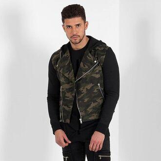 jacket maniere de voir biker camouflage jersey hood black 36683