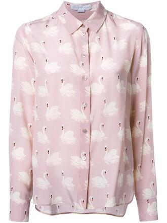 shirt women print silk purple pink top