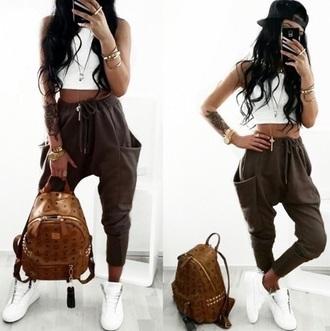 pants brown pants sweatpants white top bag