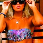 swimwear,fringe bikini,boho bikini,colourful bikini,bikini,boho,purple,blue,bikini top,colorful