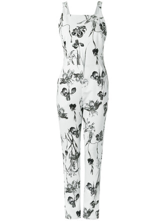jumpsuit floral jumpsuit women spandex floral white cotton