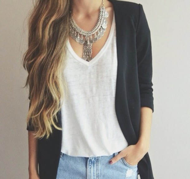 jewels necklace style t-shirt blouse sweater jacket top denim fashion jeans nail polish tumblr outfit wheretofindit wheretofindthisnecklace cardigan tank top white top white tank top black cardigan silver silver necklace ethnic